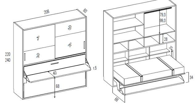 Cama abatible escritorio con altillo h404 - Fabricante camas abatibles ...